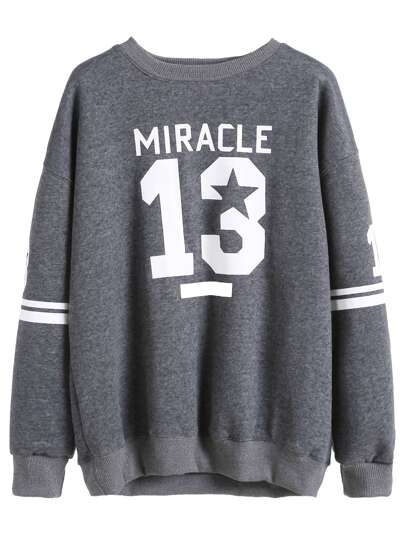 Grey Varsity Print Drop Shoulder Sweatshirt
