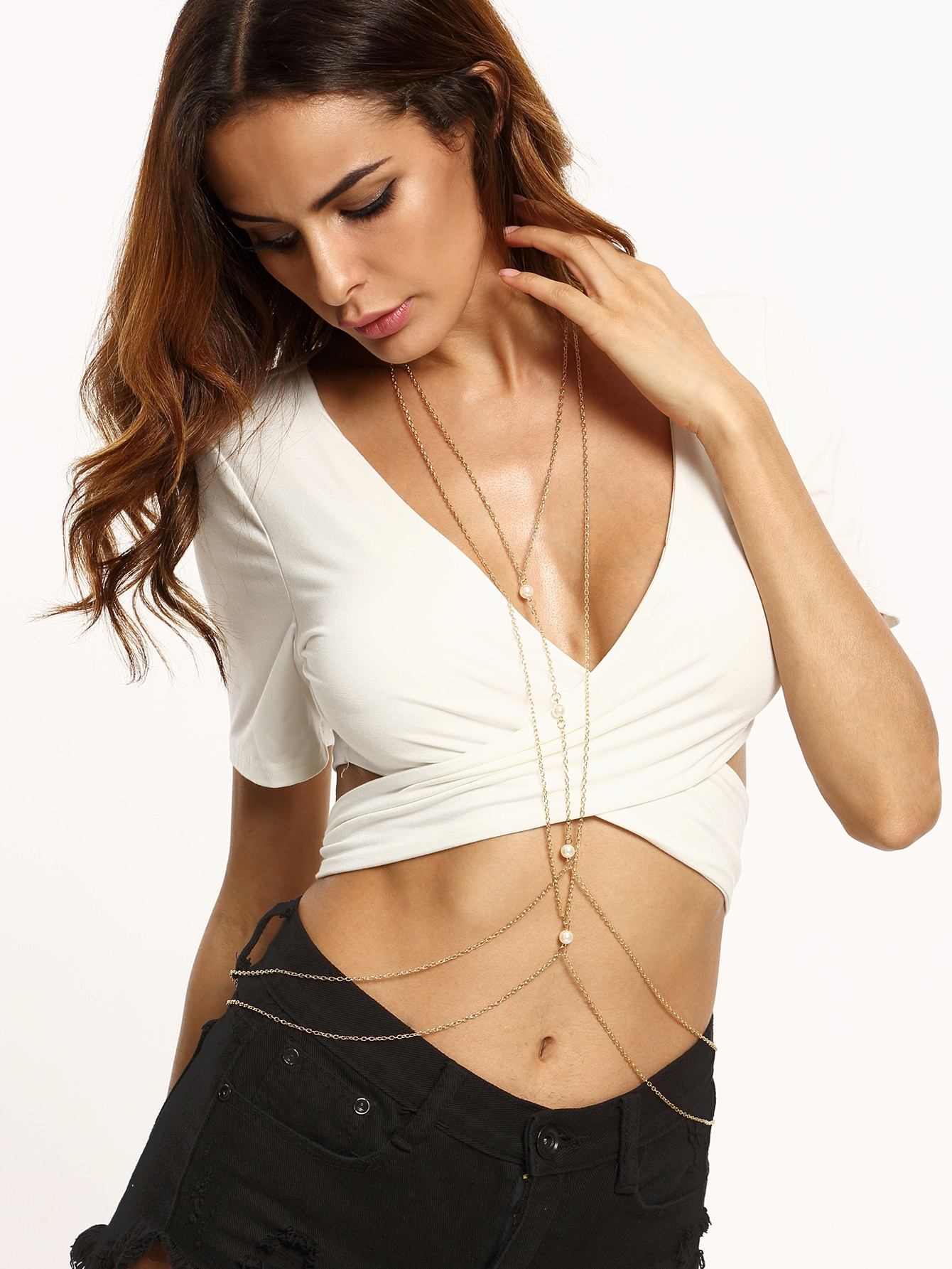 Layered Faux Pearl Body Chain trendy faux pearl butterfly shape body chain for women