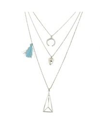 Silver Plated Multilayers Pendant Necklace