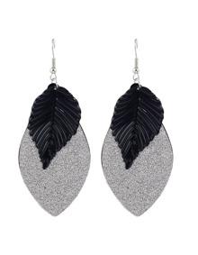Black Plated Leaf Shape Earrings