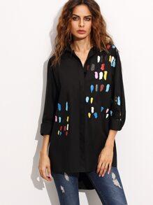 Black Print High Low Shirt