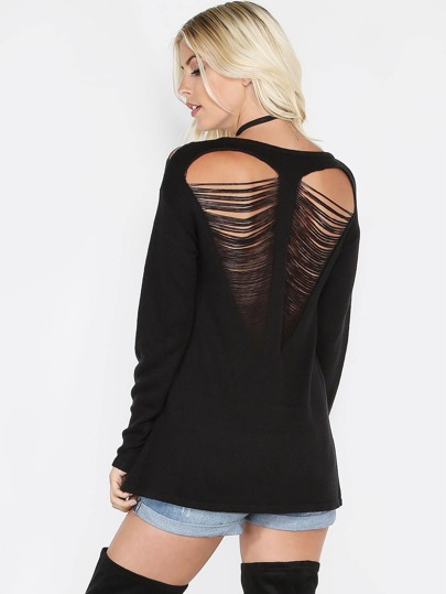 Black Heart Ripped Back Drop Shoulder Sweater
