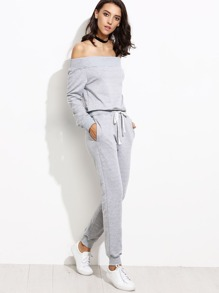 Grey Off The Shoulder Top With Drawstring Pants