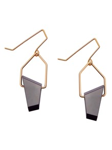 Gold Plated Black Geometric Stone Drop Earrings