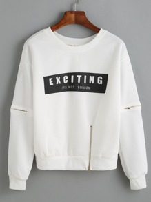 Letter Print Zip Detail Dropped Shoulder Sweatshirt