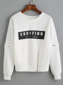 Sweat-shirt imprimé lettres avec zip - blanc