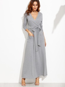 Heather Grey Wrap Maxi Dress With Pockets