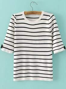 White Striped Elbow Sleeve Bow Knitwear