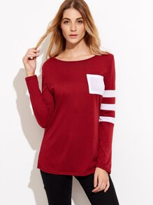Burgundy Asymmetric Striped Sleeve T-shirt With Pocket