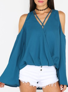 Turquoise Criss Cross Neck Cold Shoulder Long Sleeve Blouse