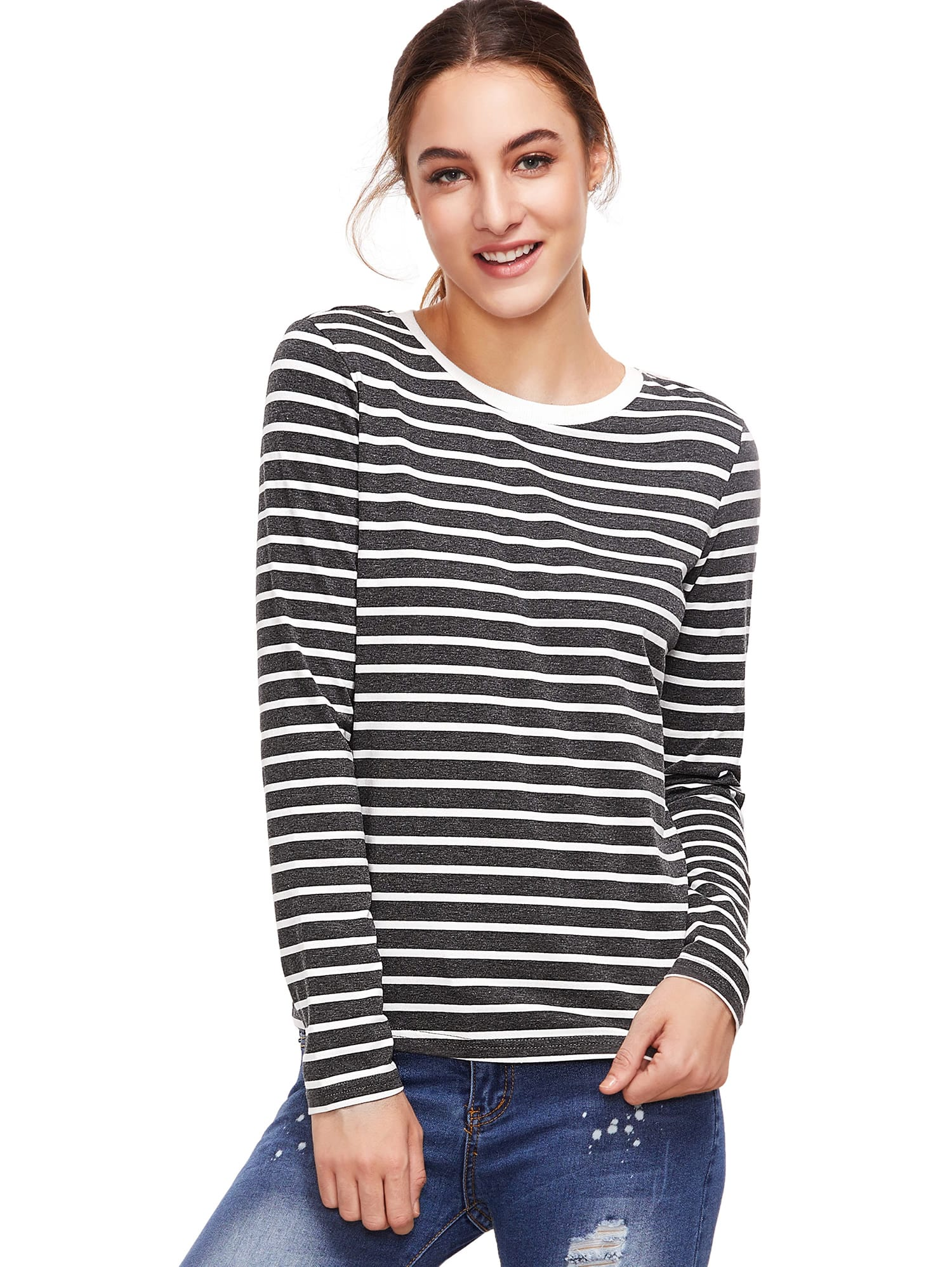 Grey Long Sleeve Striped T-Shirt tee160829576