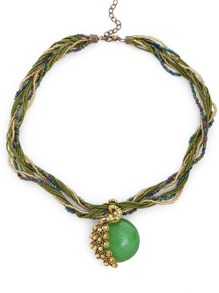 Green Peacock Gemstone Pendant Multi Strand Necklace
