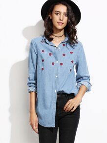 Blue Lips Embroidered Curved Hem Denim Shirt