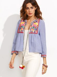 Blue Striped Embroidered Tape Detail Short Outerwear