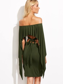 Bardot Cutout Tie Back Pleated Cape Dress