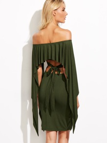 Olive Green Off The Shoulder Cutout Tie Back Cape Dress