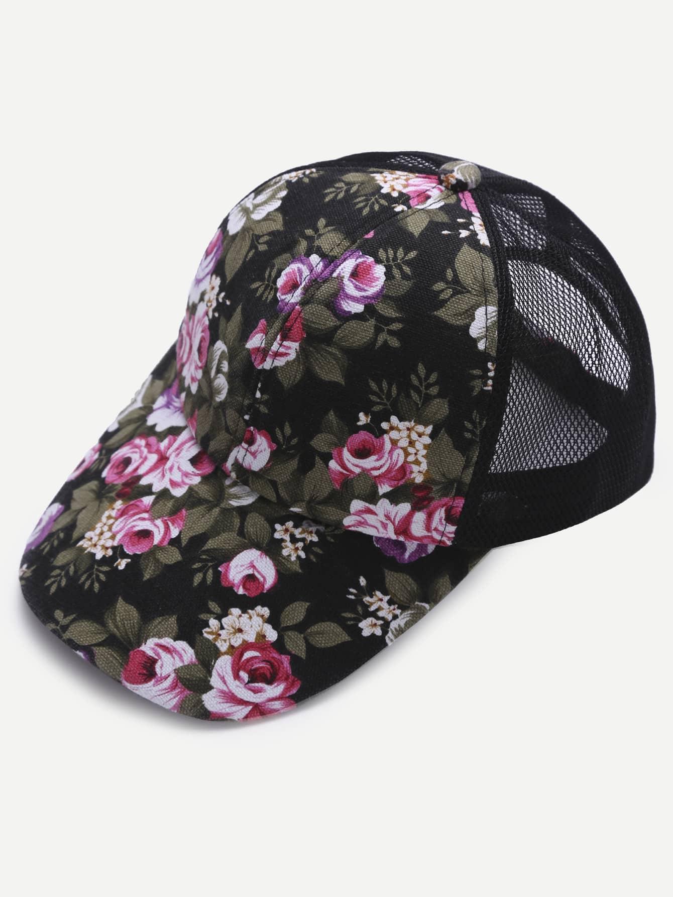 Фото Floral Print Front Black Mesh Snapback Baseball Cap. Купить с доставкой