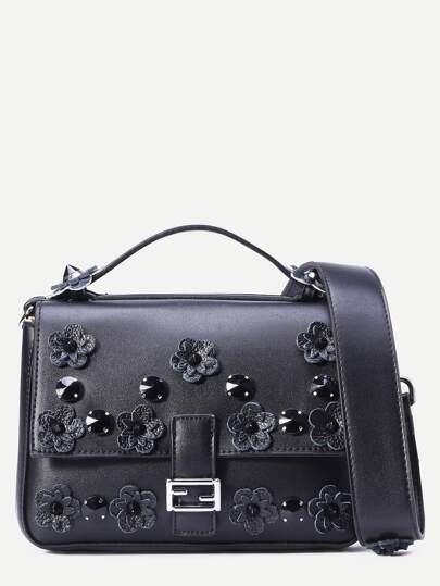Black Flowers and rivet Embellished Satchel Bag