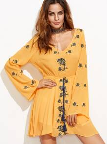Yellow Embroidery Cut Out Back Fringe Drawstring Dress