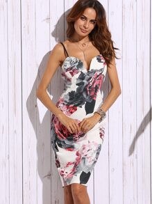 Floral Print Sweetheart Neck Sheath Dress