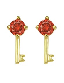 Red Crystal Key Shape Stud Earring