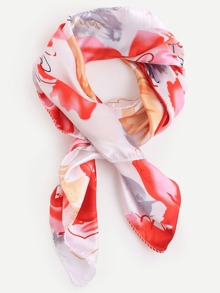 Red Floral Print Square Scarf