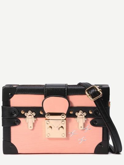 Pink Print Pushlock Box Bag