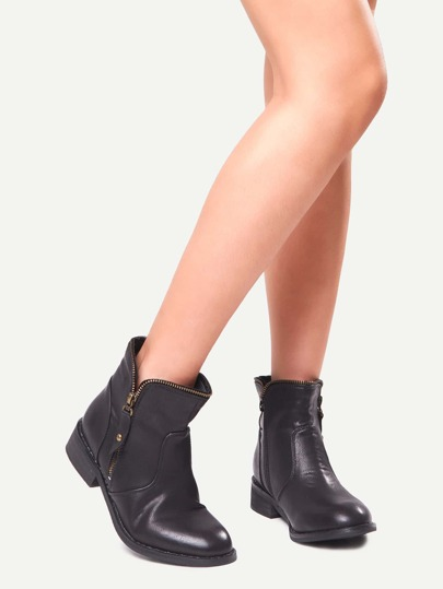 Black Faux Leather Side Zipper Mid Heeled Boots