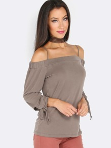 Quarter Sleeve Open Shoulder Cami Top BROWN