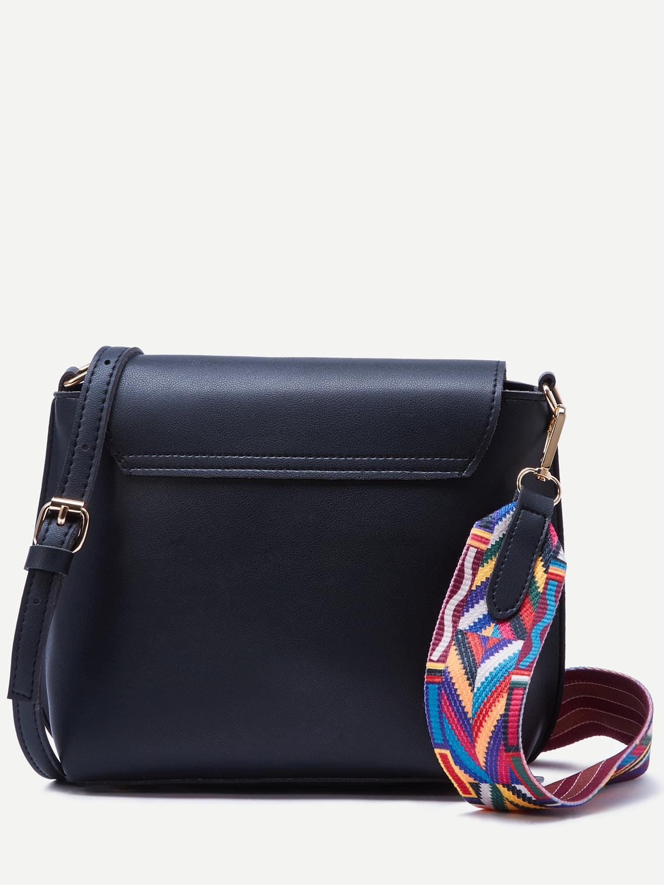 Black Wide Strap PU Flap Shoulder Bag -SheIn(Sheinside)