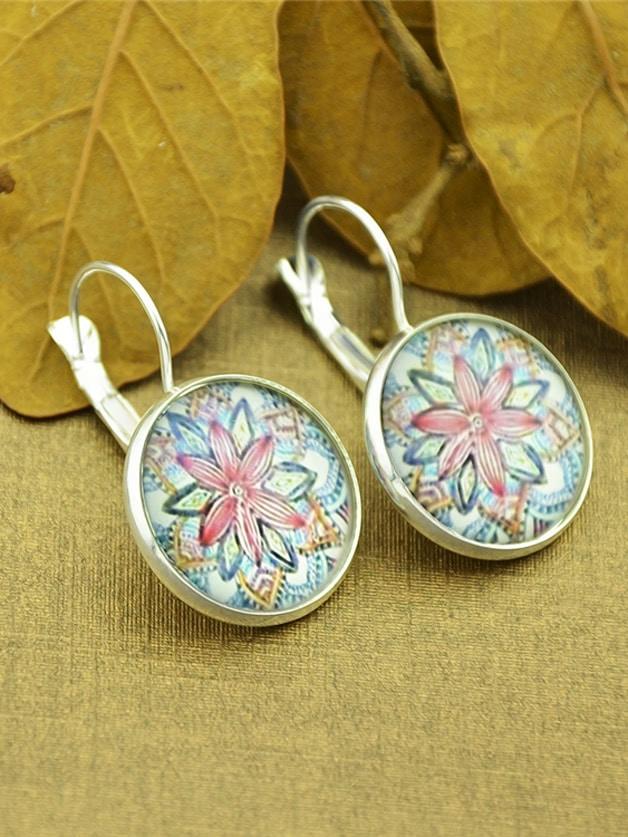 Silver Flower Pattern Imitation Gemstone Plain Round Earrings