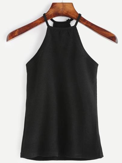 Black Halter Ribbed Cami Top