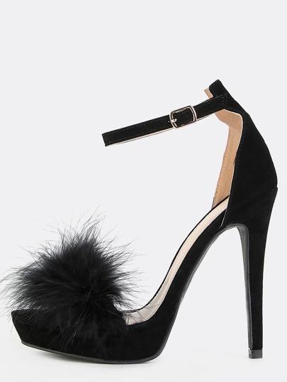 Platform Feather Heels BLACK