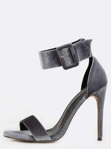 Single Sole Velvet Stiletto Heels GREY