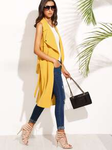 Yellow Sleeveless Lapel Tie Waist Long Outerwear