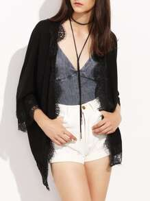 Black Lace Trim Three Quarter Sleeve Kimono
