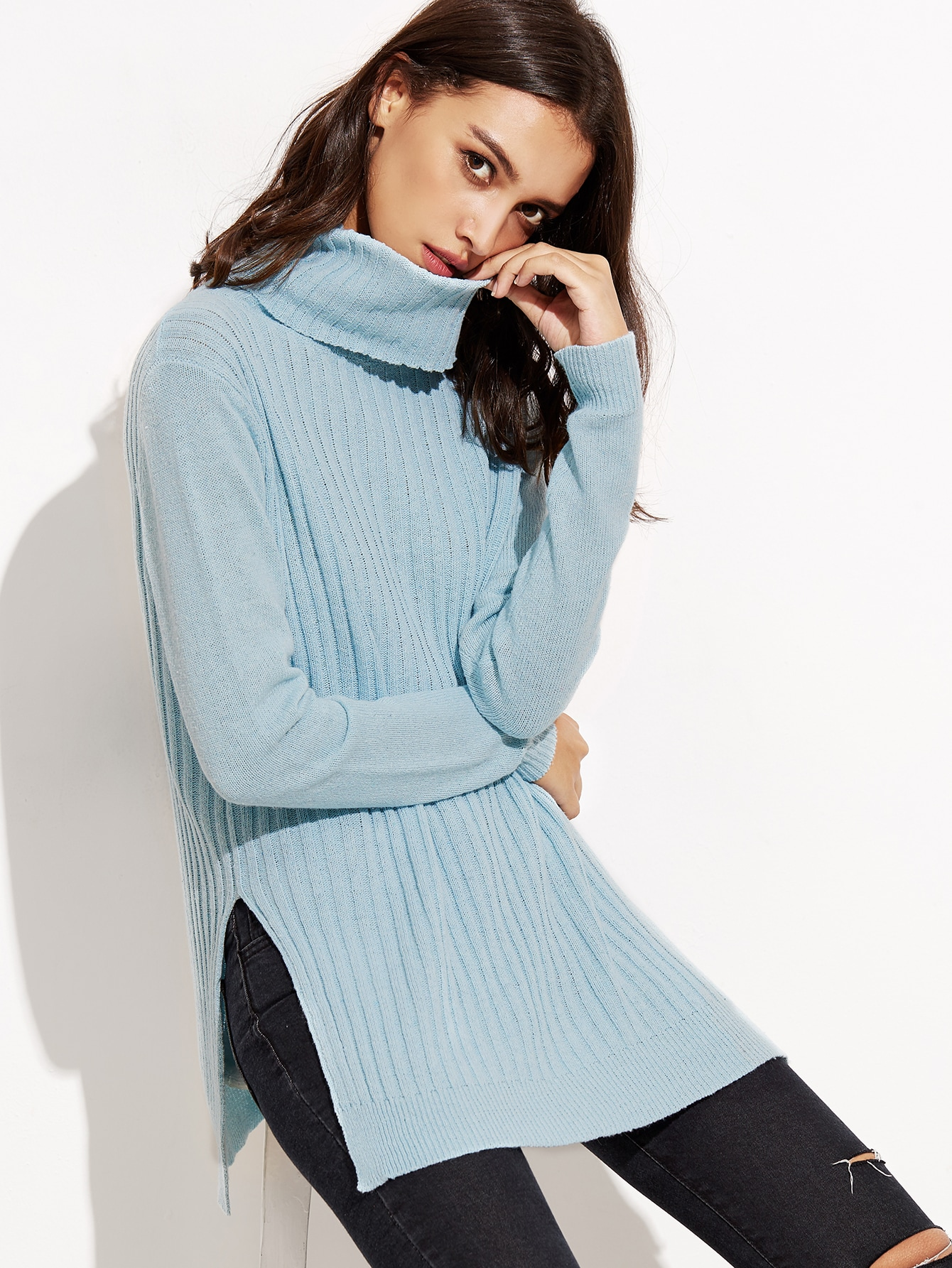 Blue Turtleneck Side Slit Ribbed Sweater sweater160829455