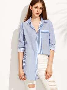 Blue Striped Curved Hem Shirt