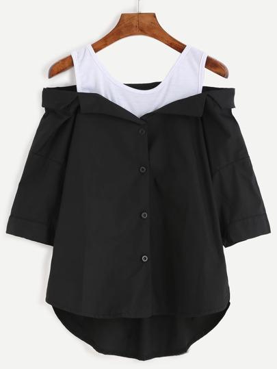 Black Contrast Open Shoulder High Low Blouse