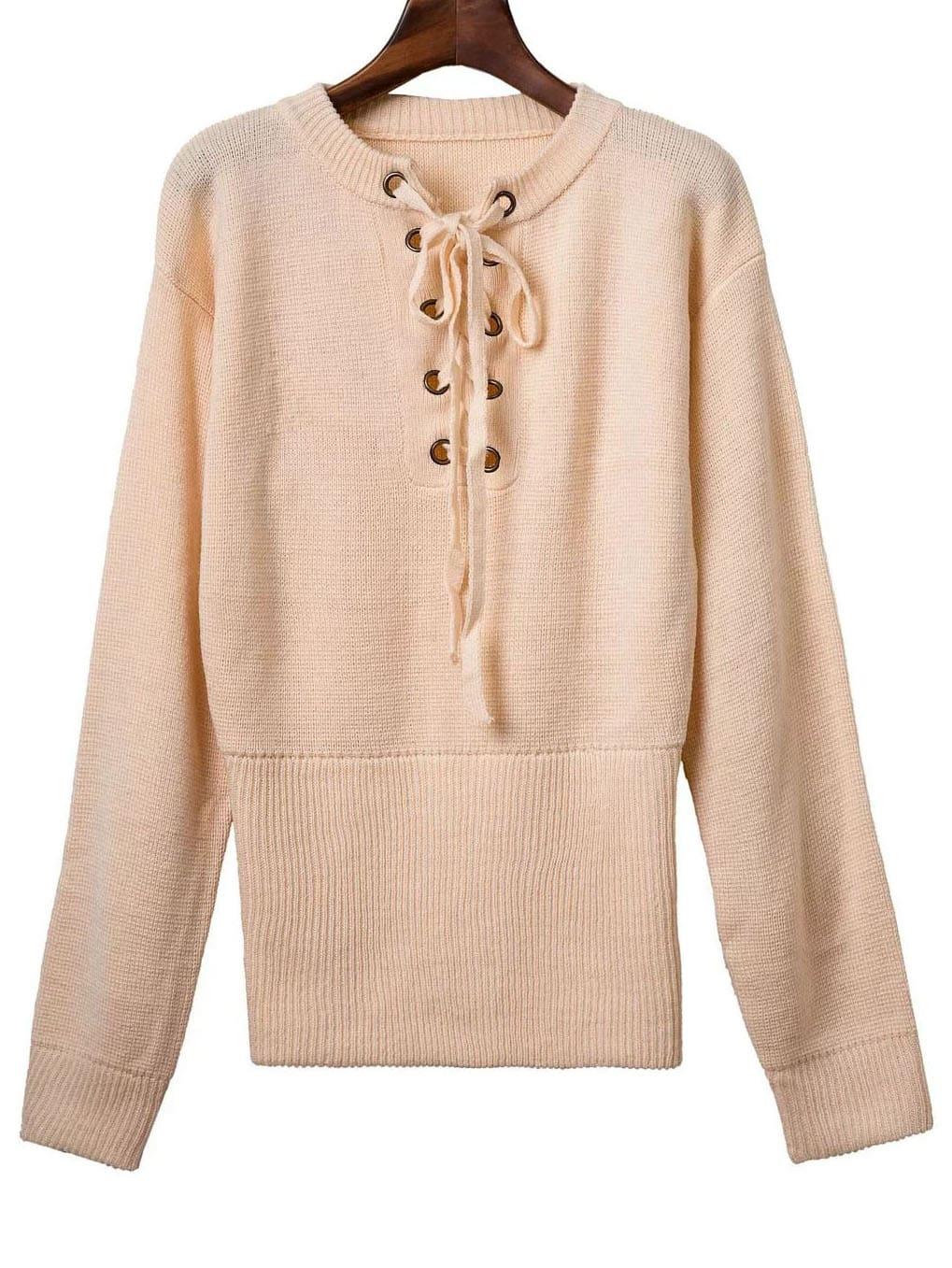 Khaki Ribbed Cuff Wide Hem Lace Up Sweater sweater160805205