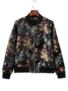Black Jacquard Zipper Up Bomber Jacket