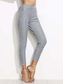 Grey Vertical Striped Elastic Waist Pants