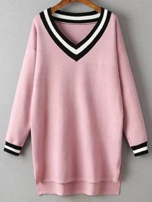 Vestido de punto bajo asimétrico con escote V ribete rayado - rosa