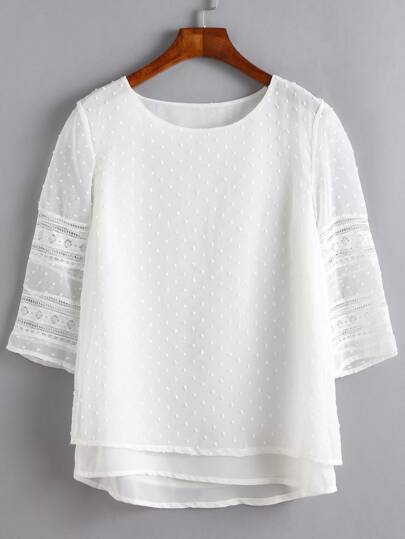 Lace Insert Hollow Out Overlay Blouse