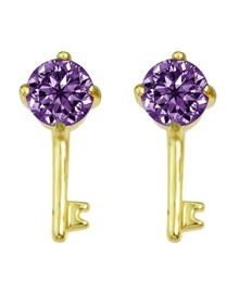 Purple Crystal Key Shape Stud Earring