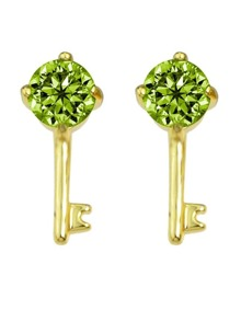 Green Crystal Key Shape Stud Earring