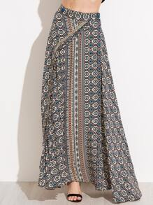 Vintage Print Wrap Skirt With Button Detail