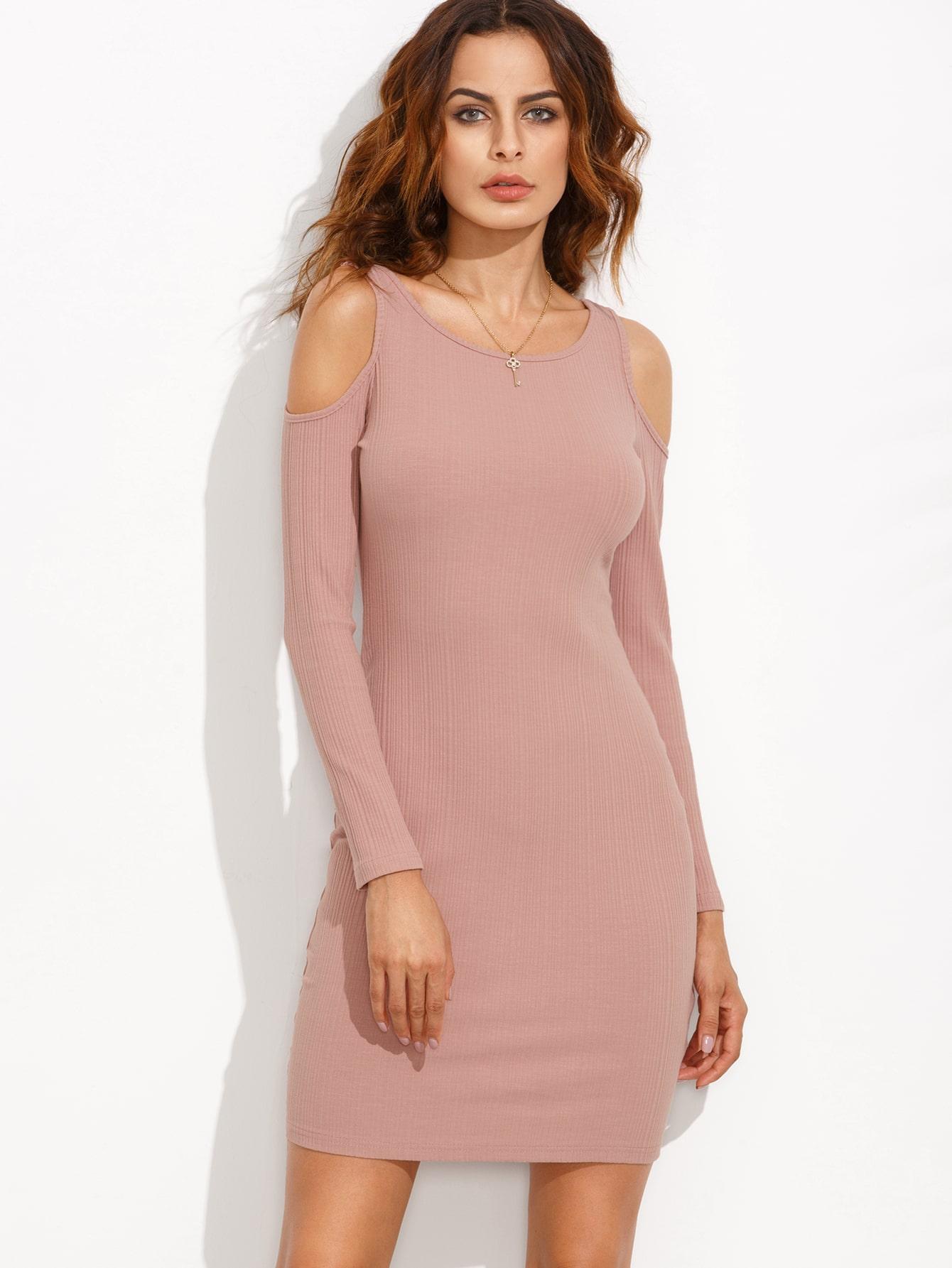 Pink Open Shoulder Ribbed Sheath Dress dress160810704