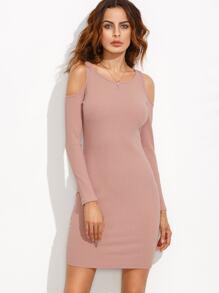 Pink Open Shoulder Ribbed Sheath Dress