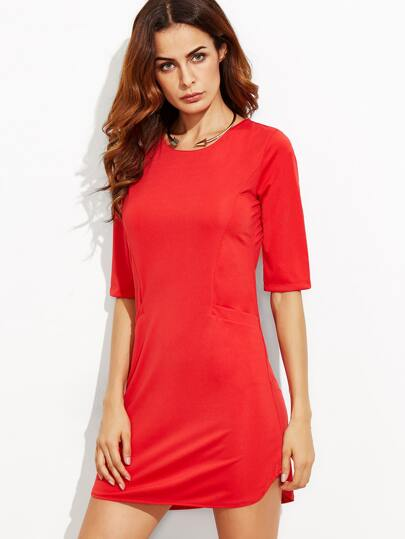 Red Keyhole Back Bodycon Dress With Pockets